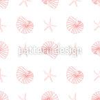 Conchas Marinhas Design de padrão vetorial sem costura