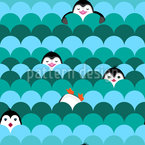 Pinguine Und Schuppen Nahtloses Vektormuster