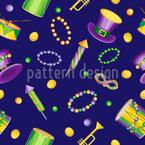 Elementos do Mardi Gras Design de padrão vetorial sem costura