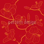 Hibiscusdream En Rojo Estampado Vectorial Sin Costura
