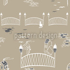 Kätzchenbrücke In Paris Nahtloses Vektormuster