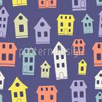 Cartoon Town Seamless Vector Pattern Design