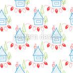 Häuser Und Lichterketten Nahtloses Vektormuster