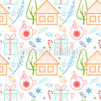 Casas no Natal Design de padrão vetorial sem costura