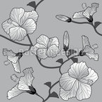 Hibiscus Monochrome Seamless Vector Pattern Design