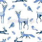 Animais invernais Design de padrão vetorial sem costura