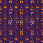 Skulls And Flames Seamless Pattern
