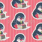 Penguins With Christmas Tree Ornaments Repeating Pattern