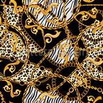 Tiger Und Zebraketten Nahtloses Vektormuster