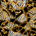 Tiger and Zebra Chains Seamless Pattern