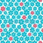 Six-Leafed Flower Seamless Vector Pattern Design