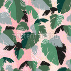 Tropische Abstrakte Blätter Nahtloses Vektormuster