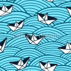 Paper Boats On Waves Seamless Vector Pattern Design