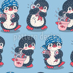 Penguins With Fish Vector Ornament