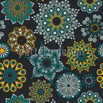 夏らしい曼荼羅の花 シームレスなベクトルパターン設計