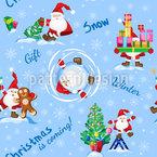 Fleißiger Weihnachtsmann Nahtloses Vektormuster