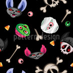 Halloween Characters Seamless Vector Pattern Design