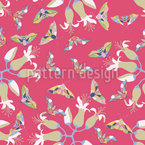 Moths And Flowers Seamless Vector Pattern Design