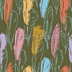 Feathers Handdrawn Colorful Seamless Vector Pattern Design