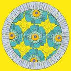 Rundes Blumenbeet Nahtloses Vektor Muster