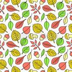 Blätter Und Nüsse Vektor Muster