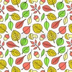 Leaves And Nuts Vector Pattern