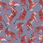 Tiger-Liebe Nahtloses Vektormuster