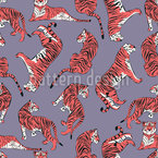 Tiger Love Seamless Vector Pattern