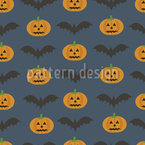 Pumpkin And Bat Pattern Design