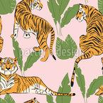 Tiger und Pflanzen Nahtloses Vektormuster