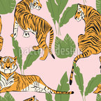 Tigers And Plants Pattern Design