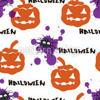 Spiders And Pumpkins Seamless Vector Pattern Design