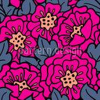 Flor de rosa mosqueta por la noche Estampado Vectorial Sin Costura