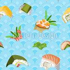 Sushi In Wellen Nahtloses Vektormuster