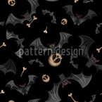 Flying Bats With Bones Seamless Vector Pattern Design