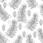 Zweige Und Zapfen Nahtloses Vektormuster