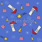Geometrischer Weihnachtsmann Nahtloses Vektormuster