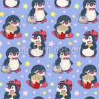 Cute Penguins With Sweets Design Pattern