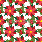 Poinsettia And Holly Leaves Seamless Pattern