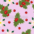 Holly Leaves And Poinsettias Pattern Design