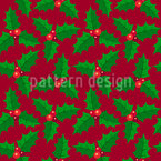 Holly Leaves Seamless Vector Pattern Design