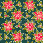 Wintry Flowers Seamless Vector Pattern Design