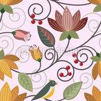 Vogel Im Blumen-Paradies Rapportiertes Design