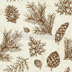 Vintage Winterpflanzen Designmuster