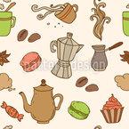 Heißer Kaffee Und Süßigkeiten Nahtloses Muster