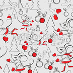 Christmas Mouse Seamless Vector Pattern Design