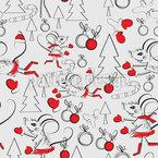 Ratón Navidad Estampado Vectorial Sin Costura