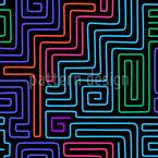 Neon Labyrinth Nahtloses Vektormuster