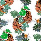 Wütende Tiger Nahtloses Vektormuster