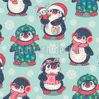 Cute Penguins In Winter Vector Ornament